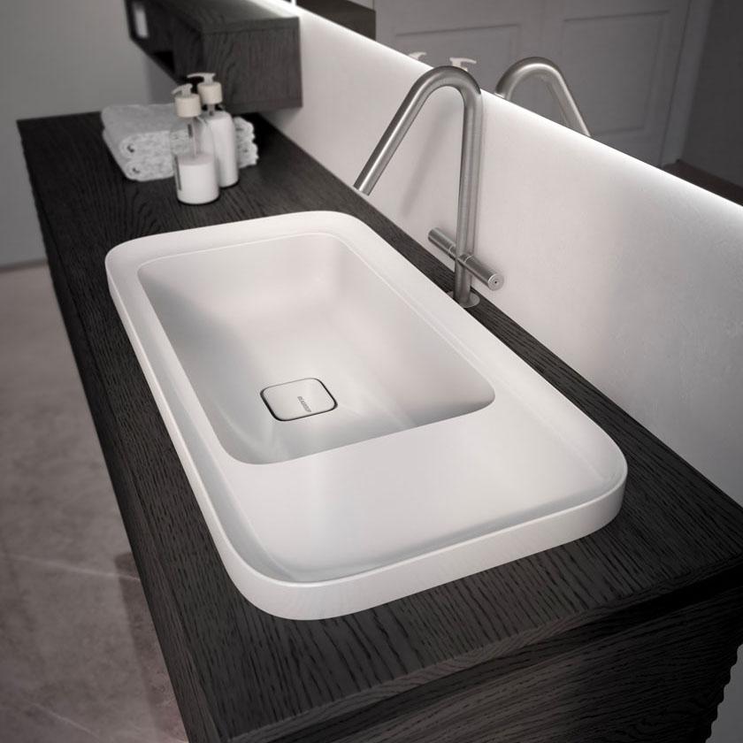 New glossy or matt ceramic washbasin Cameo