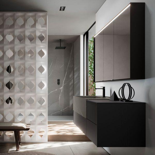 Зеркальный шкаф из алюминия со встроенным светом